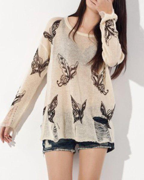 Butterfly Print Ripped Long Sleeve Scoop Neck Sweater For Women - BEIGE ONE SIZE(FIT SIZE XS TO M)