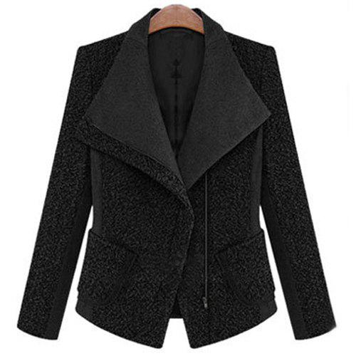 Stylish Long Sleeve Lapel Pocket Design Spliced Women's Slimming Blazer - BLACK S