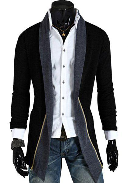 Personality Spliced Color Block Zipper Design Turn-down Collar Long Sleeves Men's Cardigan - BLACK L
