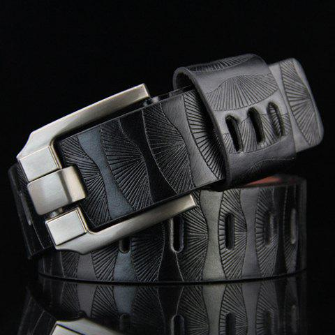 Stylish Pin Buckle Stripy Men's PU Wide Belt - BLACK