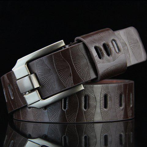 Stylish Pin Buckle Stripy Men's PU Wide Belt - COFFEE
