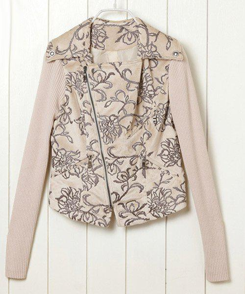 Chic Turn-Down Neck Long Sleeve Zippered Flower Pattern Women's Jacket - APRICOT S