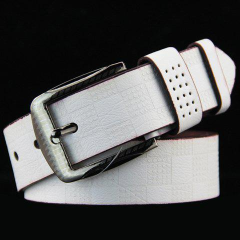 Stylish Pin Buckle Checked Pattern Men's PU Wide Belt - WHITE