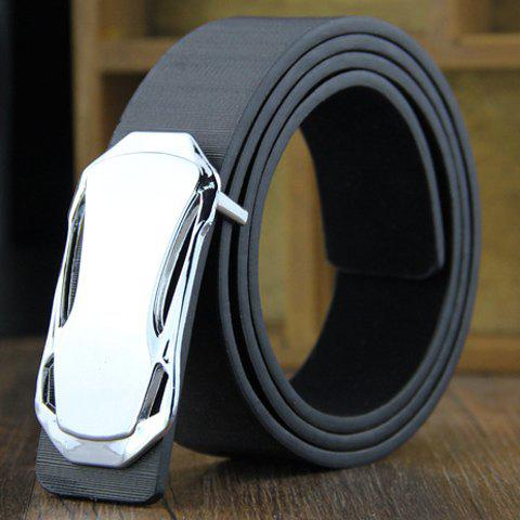 Stylish Sports Car Shape Embellished Men's PU Wide Belt - BLACK