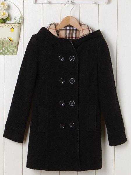 Fashionable Women's Double-Breasted Long Sleeves Hooded Worsted Coat - BLACK S