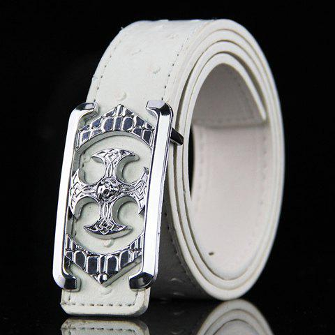 Stylish Retro Cross Shape Embellished Men's PU Wide Belt - WHITE