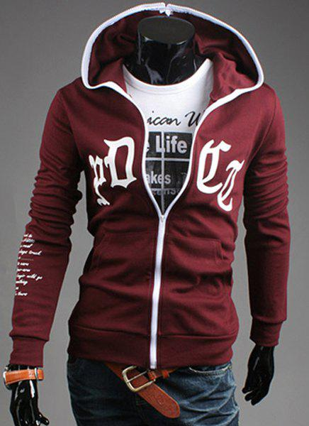 Vogue Hooded Personality Letters Print Front Pocket Long Sleeves Men's Fitted Hoodie - RED M