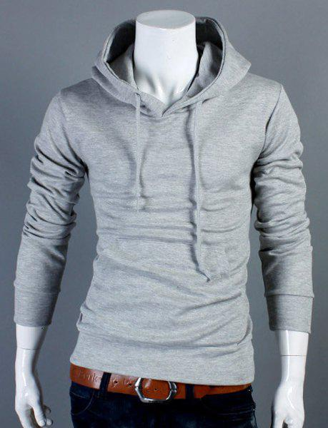 Slimming Drawstring Hooded Front Pocket Solid Color Long Sleeves Men's Thin Hoodie - LIGHT GRAY M