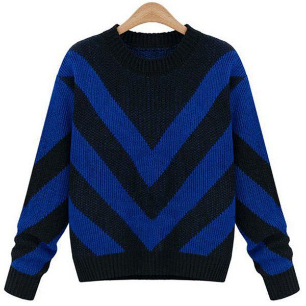 Stylish Round Neck Long Sleeve Zig Zag Color Block Women's Sweater - BLUE ONE SIZE(FIT SIZE XS TO M)