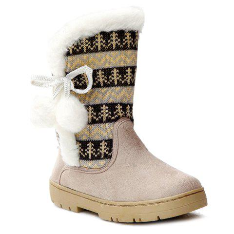 Stylish Knitting and Pompon Design Snow Boots For Women