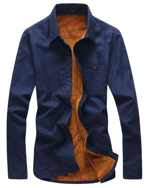 Simple Shirt Collar One Patch Pocket Solid Color Long Sleeves Men's Thicken Button-Down Shirt - CADETBLUE XL