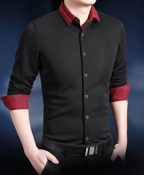 Classic Color Block Embroidered Embellished Shirt Collar Long Sleeves Men's Thicken Shirt - BLACK 4XL