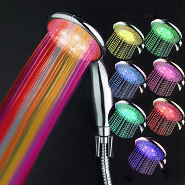 Updated Muti-Color Changing LED Light Round Head Handheld Shower Head - SILVER