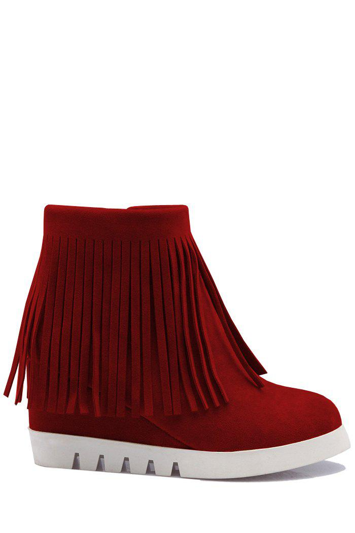Fashionable Fringe and Wedge Heel Design Women's Short Boots - RED 38