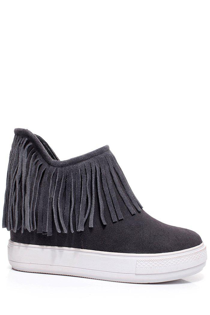 Casual Fringe and Hidden Wedge Design Women's Short Boots - GRAY 39