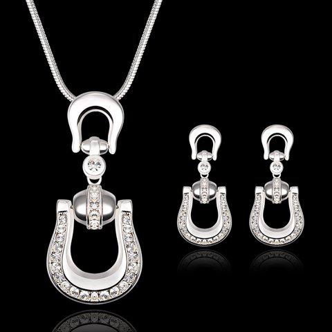 A Suit of Rhinestone U Shape Necklace and Earrings - SILVER