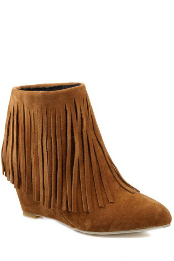 Trendy Pointed Toe and Fringe Design Women's Short Boots - BROWN 37