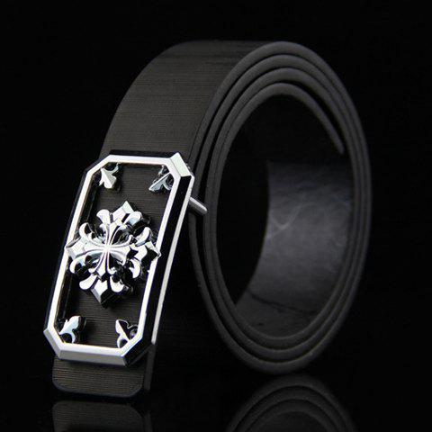 Stylish Hollow Out and Retro Cross Shape Embellished Men's Wide Belt - BLACK