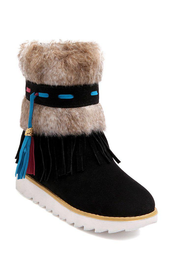 Stylish Tassels and Faux Fur Design Women's Snow Boots - BLACK 37