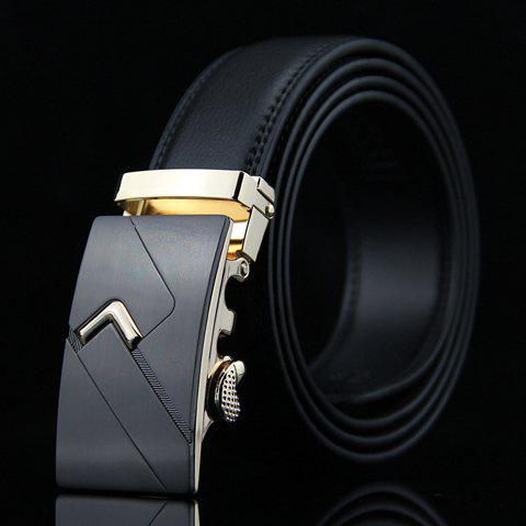 Stylish Arrow Shape Embellished Auto Buckle Men's Wide Belt - BLACK