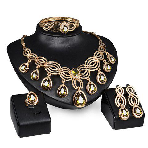 A Suit of Stylish Faux Gemstone Water Drop Necklace Ring Bracelet and Earrings For Women - GOLDEN ONE-SIZE