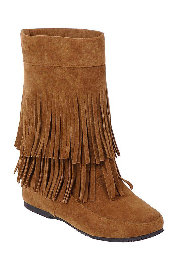 Stylish Solid Color and Fringe Design Women's Mid-Calf Boots - BROWN 36