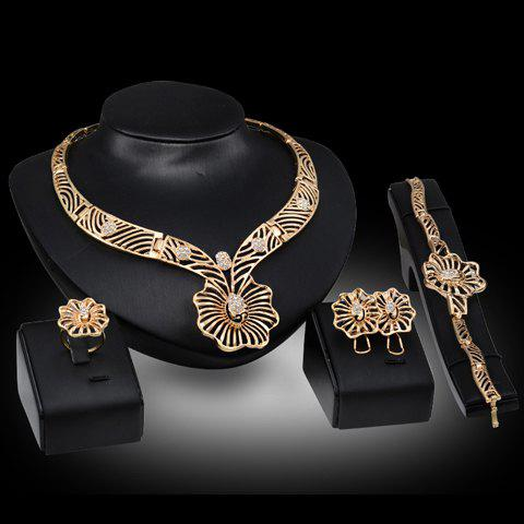 A Suit of Noble Hollow Out Floral Shape Necklace Bracelet Ring and Earrings For Women