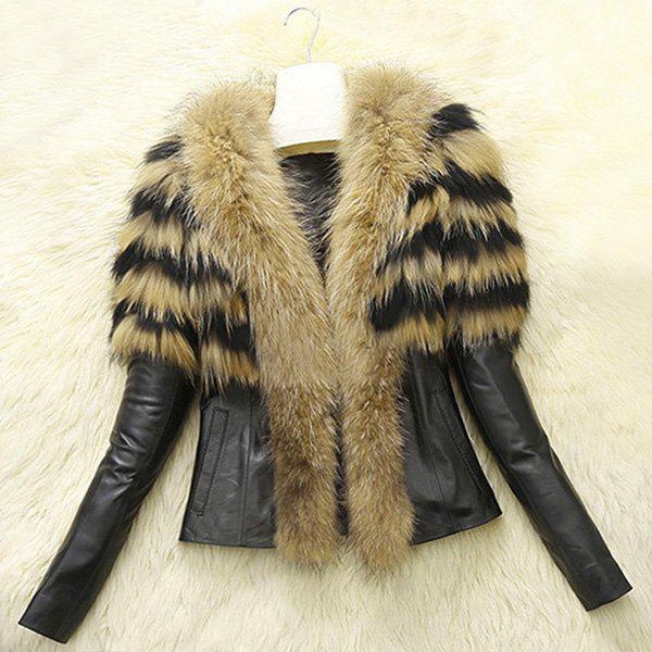 Chic Colormix V-Neck Faux Fur Spliced Long Sleeve Coat For Women - YELLOW 3XL