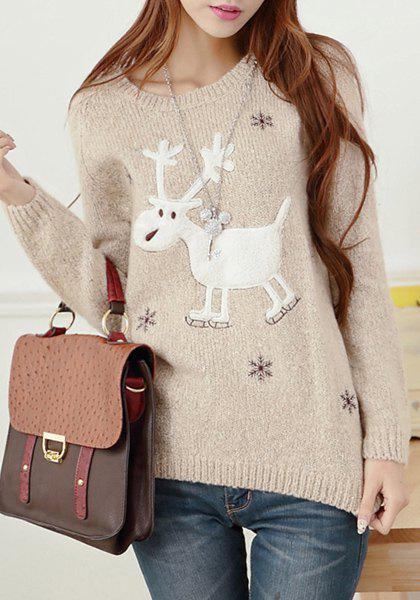 Christmas Fawn Scoop Neck Long Sleeve Sweater For Women - KHAKI ONE SIZE(FIT SIZE XS TO M)