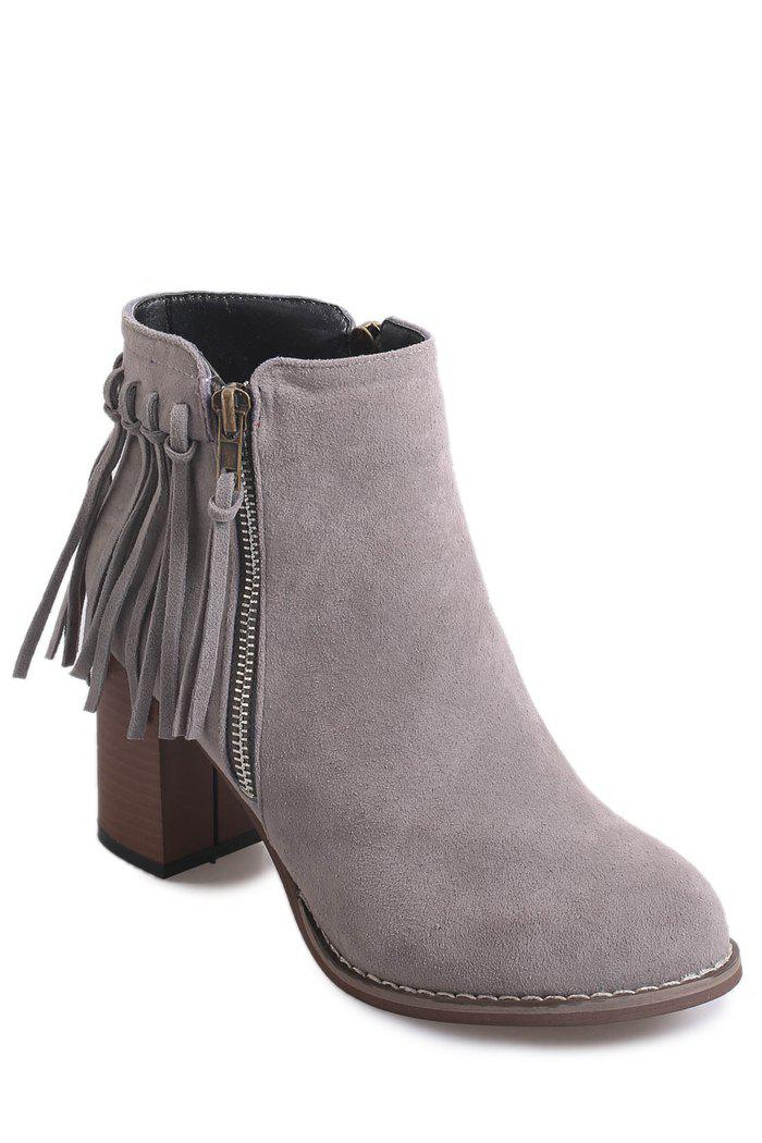 Simple Chunky Heel and Fringe Design Women's Short Boots - GRAY 36