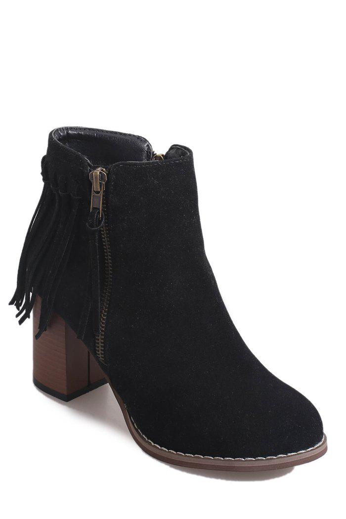 Simple Chunky Heel and Fringe Design Women's Short Boots - BLACK 36