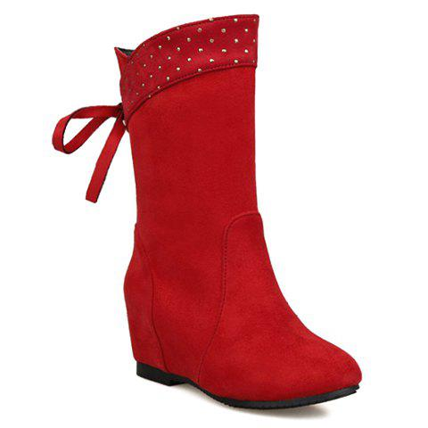 Elegant Suede and Hidden Wedge Design Women's Short Boots - RED 38