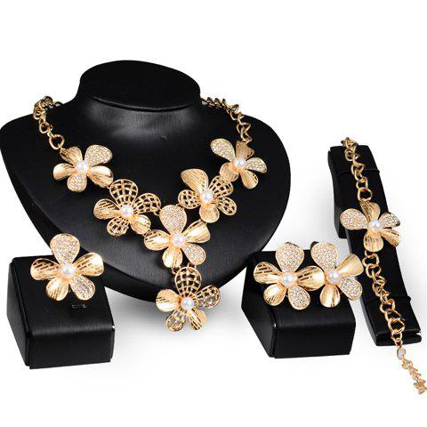 A Suit of Charming Faux Pearl Floral Necklace Ring Bracelet and Earrings For Women