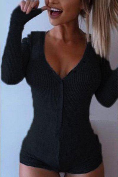 Trendy V Neck Long Sleeve Solid Color Button Design Women's Bodysuit - BLACK 2XL