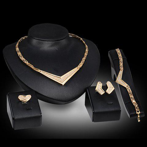 A Suit of Trendy Solid Color Geometric Necklace Bracelet Ring and Earrings For Women a cat a hat and a piece of string