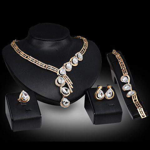 A Suit of Faux Crystal Water Drop Necklace Ring Bracelet and Earrings - ONE-SIZE GOLDEN