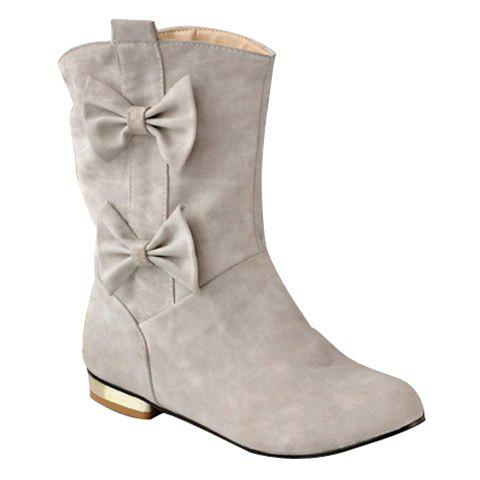 Sweet Bows and Solid Color Design Mid-Calf Boots For Women - GRAY 37