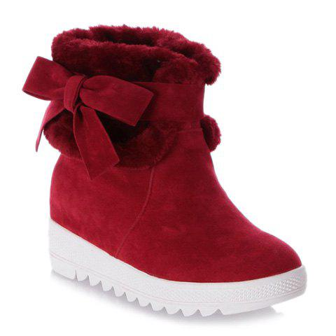 Sweet Bow and Fold Over Design Short Boots For Women - RED 39