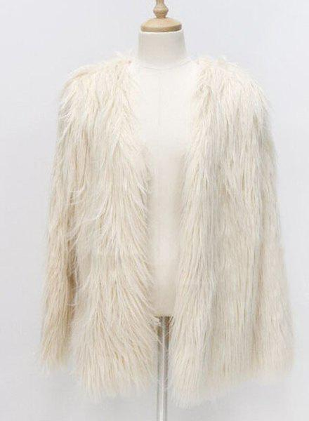 Round Collar Fake Fur Long Sleeve Pure Color Coat For Women - OFF WHITE 3XL 2b8ddfa20e