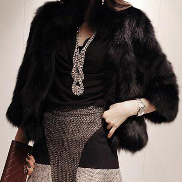 Women's Stylish Fake Fur 3/4 Sleeve Pure Color Coat - BLACK M