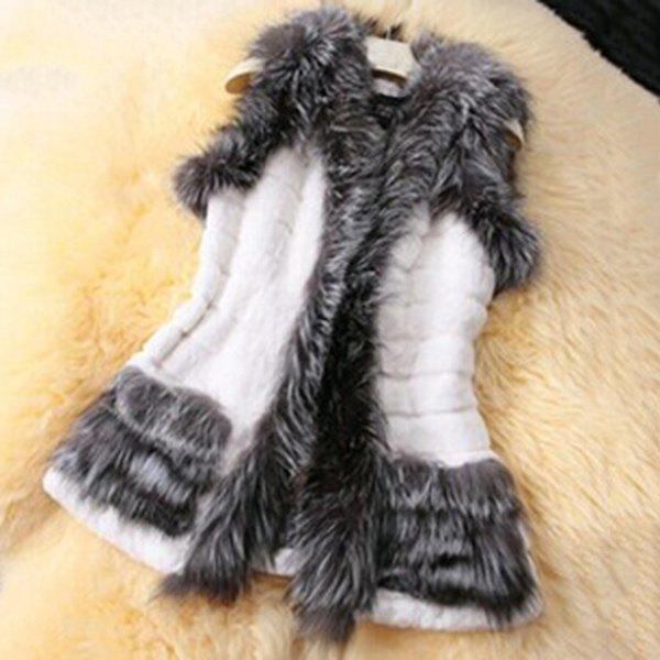 Fake Fur Splicing Waistcoat For Women - WHITE S