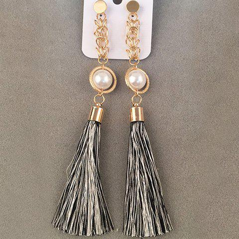 Pair of Faux Pearl Tassel Drop Earrings - WHITE/BLACK