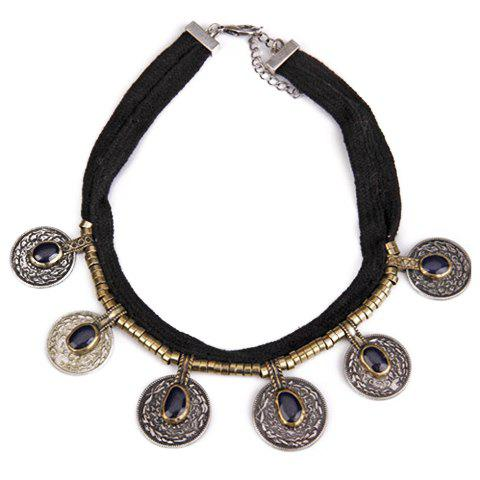Vintage Faux Crystal Coin Necklace For Women