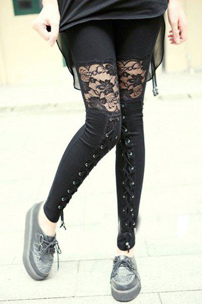 Vintage See-Through Lace Spliced Lace-Up Design Black Ankle Leggings For Women - BLACK S
