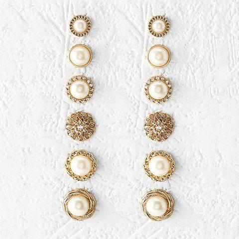 A Suit of Faux Pearl Round Earrings - GOLDEN