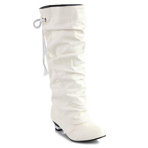 Trendy Ruched and Lacing Design Women's Mid-Calf Boots - WHITE 36