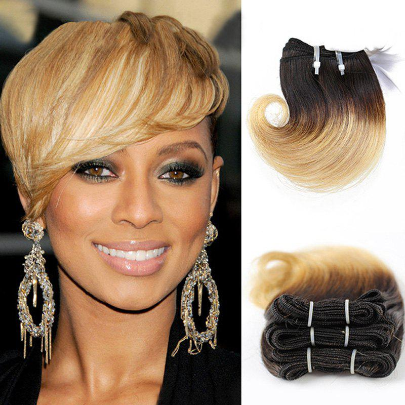 Stunning Black Ombre Blonde Fashion Short Capless Fluffy Wavy Women's Human Hair Extension l email black blonde ombre gradient 60cm