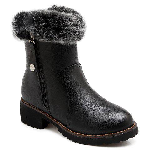 Vintage Faux Fur and Chunky Heel Design Short Boots For Women - BLACK 39