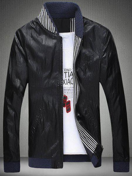 Slimming Knited Splicing Stand Collar Long Sleeve Men's PU-Leather Jacket - BLACK 3XL