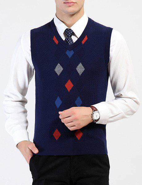Argyle Intarsia Color Spliced Loose Fit V-Neck Sleeveless Men's Sweater Vest